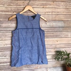 J.Crew blue embroidered sleeveless tank top 00